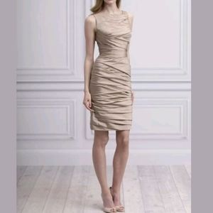 Monique lhuillier Champagne Short Taffeta Dress-10
